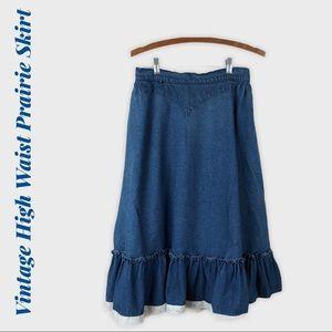 Vintage Western Denim Jean Prairie Skirt Small S